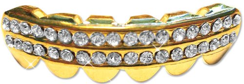 Hip Hop 14K Gold Plated Removeable Mouth Grillz Piece (Lower) Iced 2-Row by Big Dawgs Bling