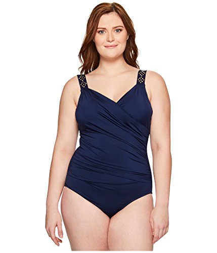 Jantzen Women's Plus Size Draped Surplice One Piece