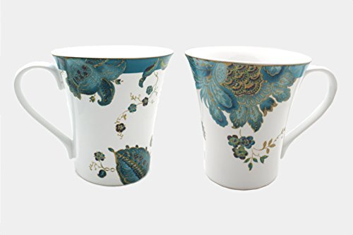 222 Fifth Eliza Teal Paisley Mugs w/ Gold Accents, Set of 2