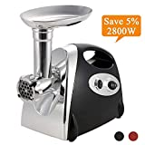 Stainless Steel Electric Meat Grinder and Duty Household Sausage Maker Meats Mincer Food Grinding Mincing Machine with Kibbe Attachement – Powerful 2800W Copper Motor(Black)