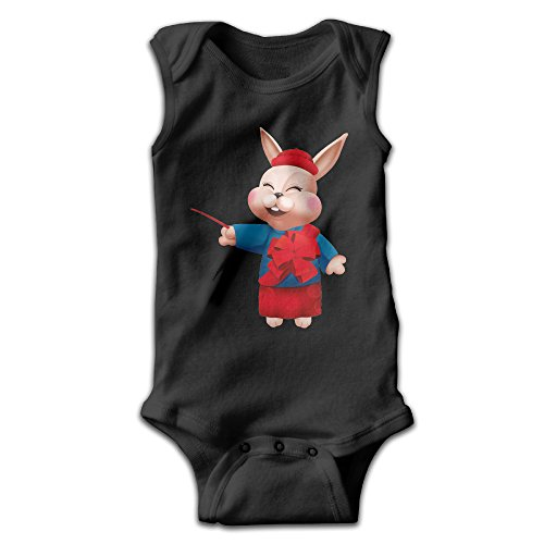 Infants Rabbit Short Sleeve Bodysuit Baby Onesie Baby Climbing Clothes Outfits Jumpsuit Outfits Romper For 0-24 Months Black 18 Months