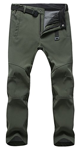 TBMPOY Men's Winter Water Resistant Fleece lined Cargo Snow Hiking Pants(01 thick green,us - Pants Hunting Lightweight