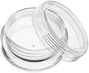 Queenwind 12Pcs の明確な円形のプラスチックびんのサンプルはねじふたが付いている空の錫の貯蔵の容器