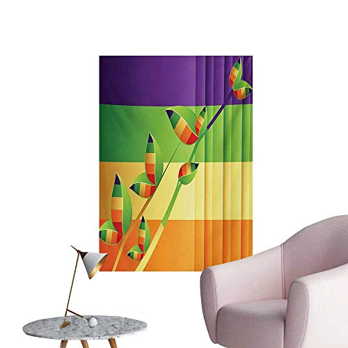 Anzhutwelve Colorful Photo Wall Paper Modern Various Fractal Floral Leaves and Branch Vibrant Stripes Fantasy ArtworkMulticolor W24 xL32 Cool Poster