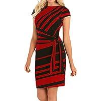 CUCUHAM Women's Working Dresses Pencil Stripe Party Dress Casual Mini Dresses