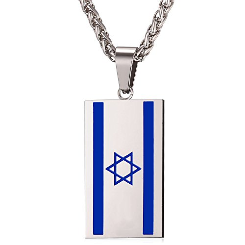 (U7 Israel Flag Pendant National Day I Love My Country Jewelry Stainless Steel Blue Enamel Star of David Dog Tags Necklace, Free Chain 22