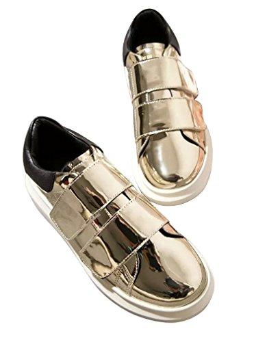 Bininbox Damesmode Velcro Strips Sneakers Plateauzolen Goud