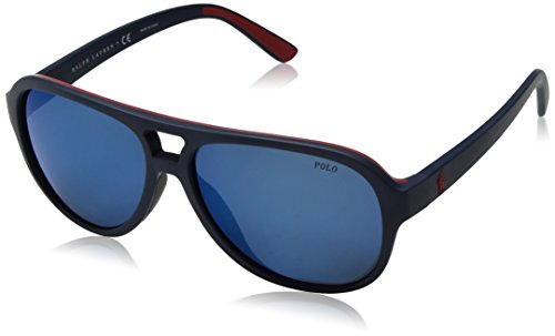 Polo Ralph Lauren Men's Injected Man Non-Polarized Iridium Aviator Sunglasses, Matte Navy Blue Red Rubb, 58 - Usa Rubb