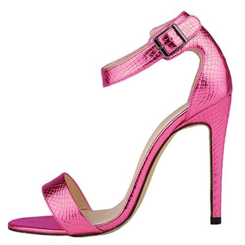 HooH Damen High Heel Sandalen Sommer Peep Toe Ankle Strap Schnalle Pumps Rosarot