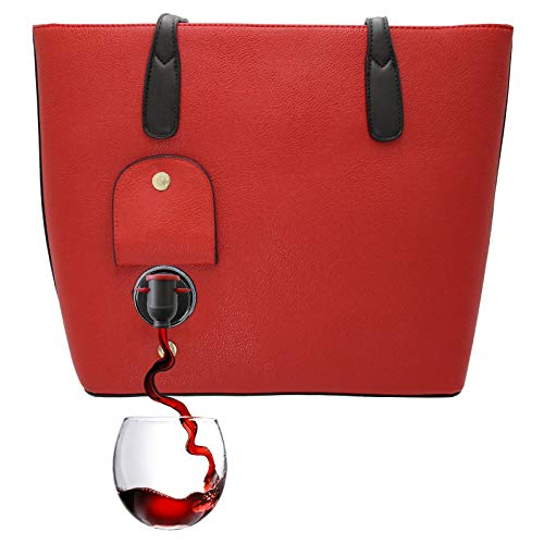 PortoVino Classic Wine Purse (Red) - Fashionable purse with Hidden, Insulated Compartment - Holds 2 bottles of Wine in Removable Pouch!