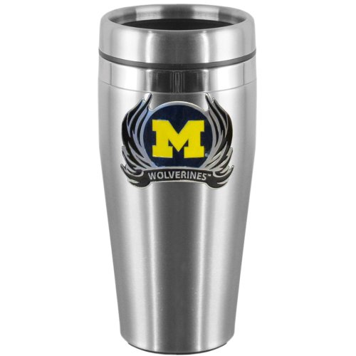 NCAA Michigan Wolverines Steel Travel Mug with Flame (Flame Logo Mug)