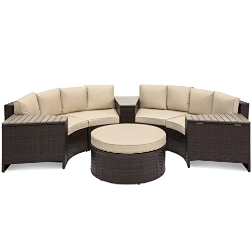 Best Choice Products 8-Piece Half Circle Wicker Sectional Sofa Set w/Waterproof Cushions, Wedge Storage Tables - Brown