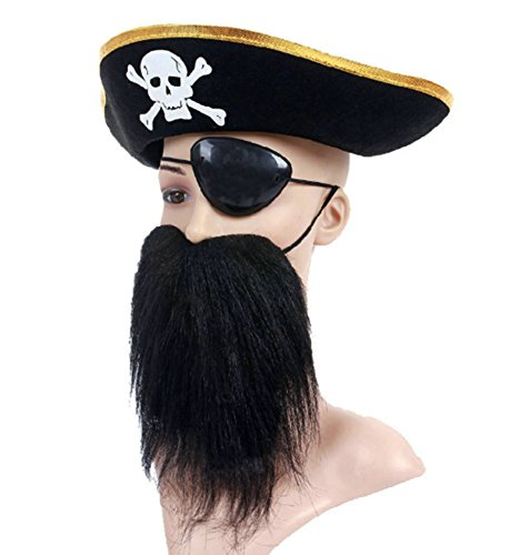 Skyseen Pirate Birthday Party Favors- Pirate Hat Eye Patch Hairy Mustache- Party Props (Custom Pirate Hat)