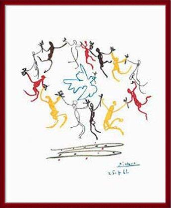 ポスター パブロ ピカソ Dance of Youth 額装品 ウッドベーシックフレーム(レッド) B0031N3Z8W レッド レッド