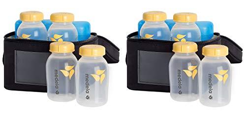 Medela Breast Milk Cooler and Transport Set, 5 Ounce Bottles with Lids, Contoured Ice Pack, Cooler Carrier Bag (2 Pack)