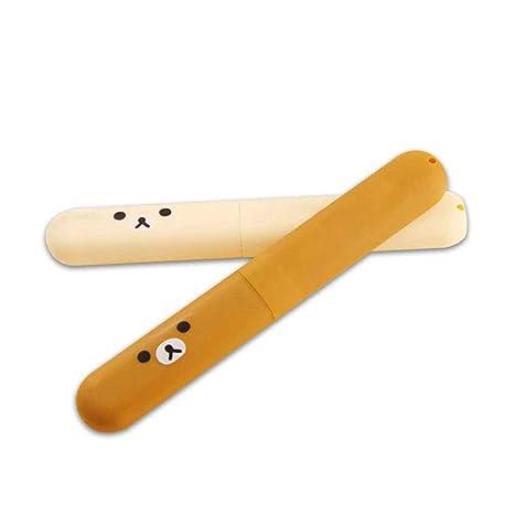 Kongnijiwa 2pcs Portátil ABS Oso Patrón plástico del Cepillo de Dientes Cajas de Almacenamiento para Viajes