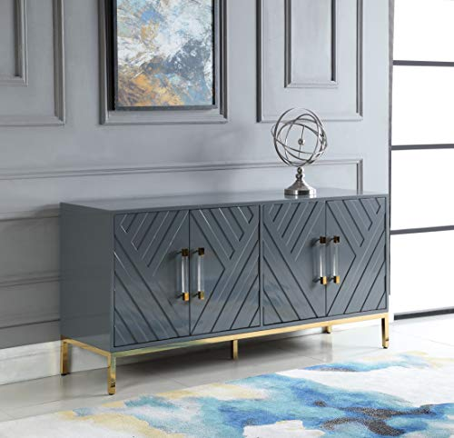 Best Master Furniture Tamari High Gloss Lacquer Sideboard/Buffet, Grey (Furniture Buffets And Sideboards)