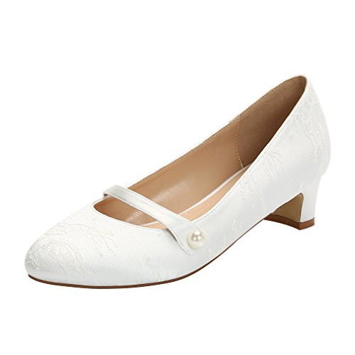 ng Comfort Low Heel Women Dyeable Lace Dress Shoes for Bride Ivory Size 9 (Dyeable Womens Heels)