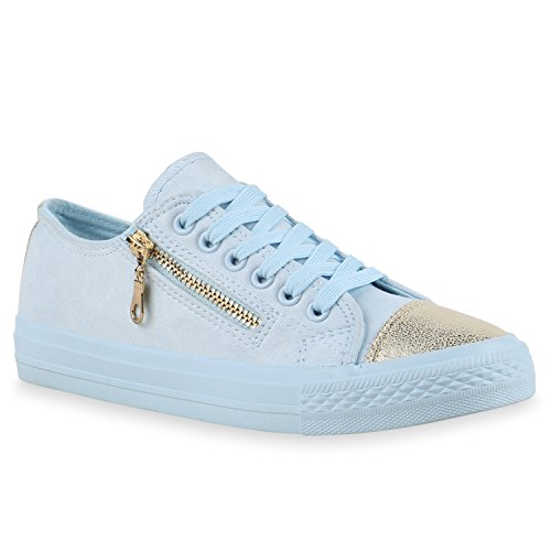 Stiefelparadies Damen Sneakers Pailletten Schuhe Spitze Häkeloptik Turnschuhe Sportschuhe Freizeitschuhe Sneaker Low Flats Flandell Hellblau Gold Zipper