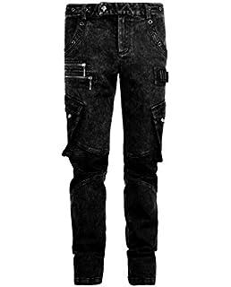 b33e87f70ae49 Men's Denim Trousers Gothic Punk Casual Mutli Pocket Rivet Thin Leg Long  Pants