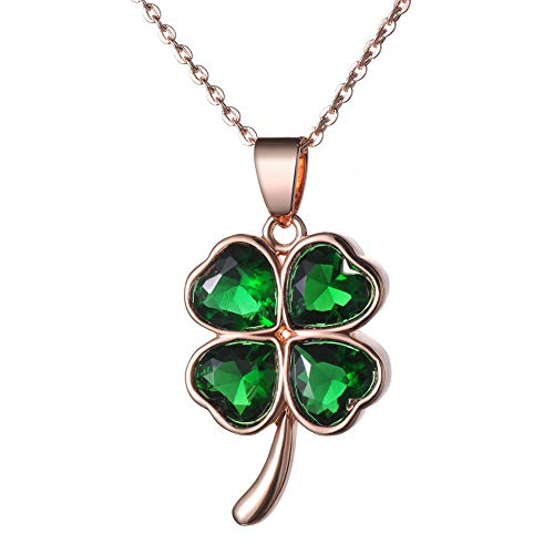 KIVN Fashion Jewelry Irish Shamrock Four Leaf Clover CZ Cubic Zirconia Pendant Necklaces for Women (Green-Rose) ()