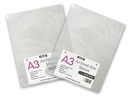 A4A3A2Archival maniche senza acidi (10pezzi) A3 mapac