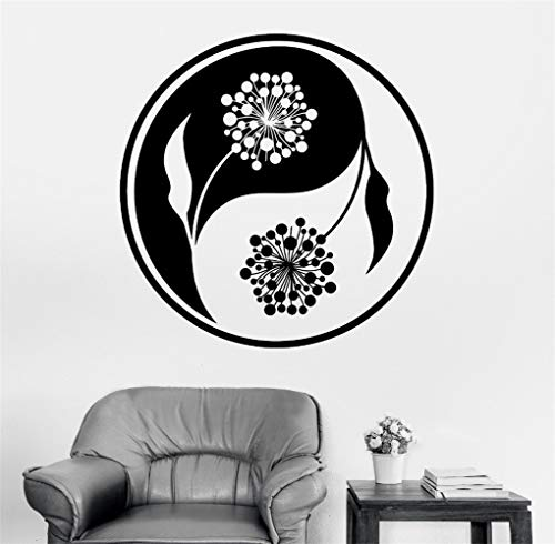 Jisao Removable Vinyl Mural Decal Quotes Art Pinturas Murais Big Mandala Yoga Sticker Menhdi Lotus Pattern Ornament Om Indian Home Decor]()