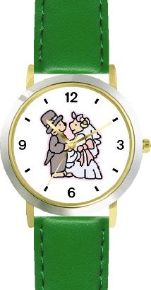 Wedding Couple Teddy Bears - Bear Animal - WATCHBUDDY DELUXE TWO-TONE THEME WATCH - Arabic Numbers - Green Leather Strap-Women's Size-Small by WatchBuddy (Image #4)