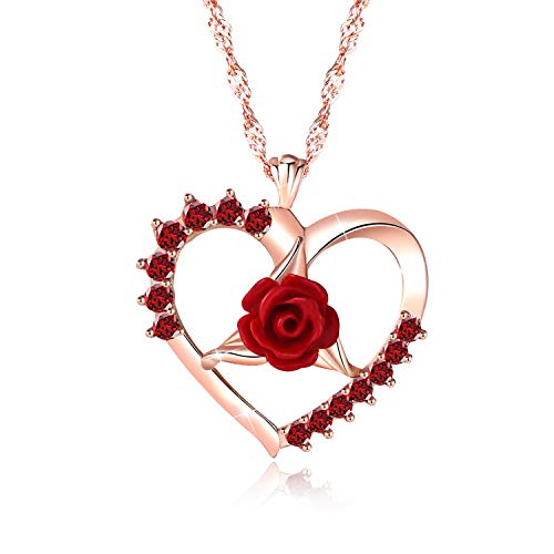 Heart Necklace, Love Necklace Pendant Rose Gold Plated Red Rose Necklace for Women Girls Mother Girlfriend Birthday Gifts Jewelry