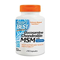 Doctor's Best Glucosamine Chondroitin MSM con OptiMSM, Soporte para articulaciones, Sin OGM, Sin gluten, Sin soja, 240 cápsulas
