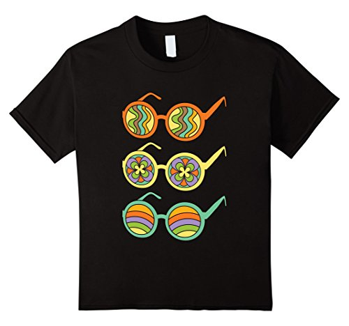 Kids Retro Hippie 70's 1970s Shirt: Costume & Casual 70s Glasses 8 Black