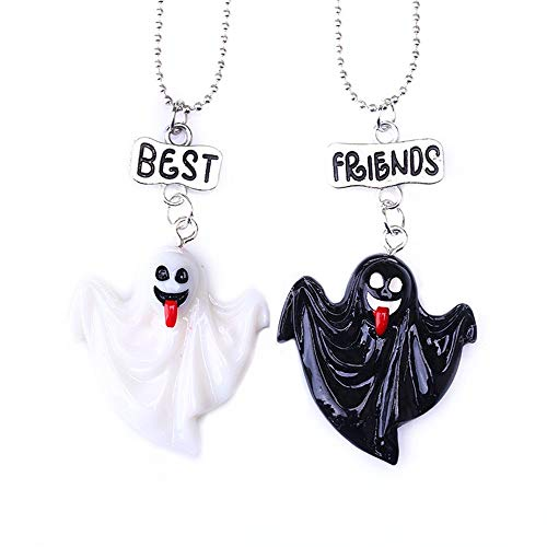 Best Friend Necklaces 2 Friendship Necklace Halloween Necklace 2 Black White Ghost Necklace for Boys Girls Kids ¡­ ()