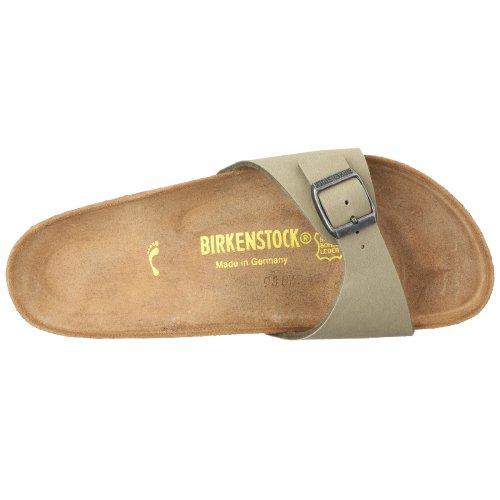Birkenstock Madrid Birko-Flor - Sandalias de pala unisex Khaki Nubuk