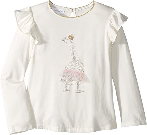 Mud Pie Princess Tutu Goose Ivory Tee Small Toddler(12-24 Months), White and Gold, Small