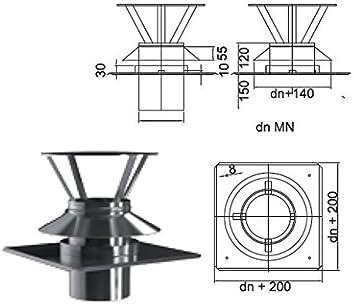Kamin Schornstein Abdeckung Schachtabdeckung Kombielement DN 80 mm