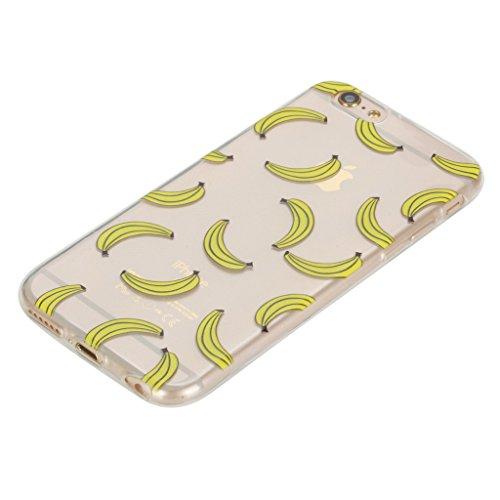 """Crisant Case Cover For Apple iPhone 6 Plus / 6S Plus 5.5"""" (5,5''),Banane aux fruits jaunes Premium gel Ultra thin Transparent TPU souple Clair Bumper silicone protection Housse arrière coque étui Pour"""
