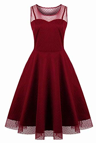 KILOLONE Plus Size Dresses for Women 1950s Cocktail Dress Party Vintage Retro Bridesmaid Evening Lace Sleeveless Dress Wine