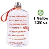QuiFit 1 Gallon Water Bottle Reusable Leak-Proof Drinking Water Jug for Outdoor Camping BPA Free Plastic Sports Water Bottle with Daily Time Marked (Transparent/Orange)