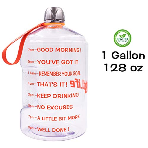 (QuiFit 1 Gallon Water Bottle Reusable Leak-Proof Drinking Water Jug for Outdoor Camping BPA Free Plastic Sports Water Bottle with Daily Time Marked (Transparent/Orange))