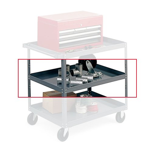 Edsal SC1800T Additional Tray for Extra Heavy-Duty Service Cart, 16 Gauge Steel, Material Handler, Powder Coated Finish, Industrial Gray Color, 18'' Length x 30'' Width x 2'' Height, 1 Shelf by EDSAL (Image #1)