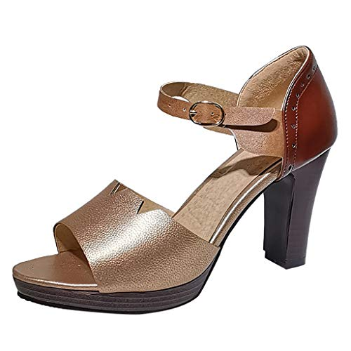 - Cenglings Women Casual Peep Toe Patchwork High Chunky Heel Pumps Office Work Sandals Ankle Strap Hollow Out Shoes Gold