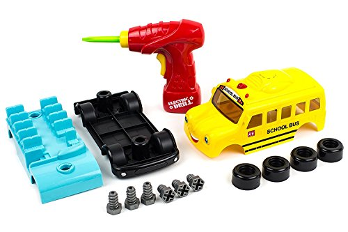 Take Apart School Bus Toy Motor Assembly with Tools and Parts Build Your Own Bus Construction Set   Develop Fine Motor Skills and Hand-Eye Coordination for Children Age 3 & - Of Scratches Car Best Out Get Thing To