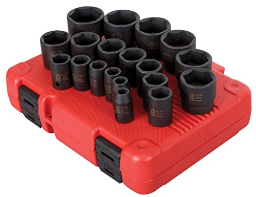Sunex 2640 1/2-Inch Drive SAE Impact Socket Set, Standard/Deep, 6-Point, Cr-Mo, 3/8-Inch - 1-1/2-Inch, 19-Piece (Sae Set Impact Socket)