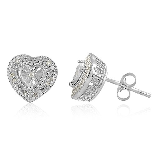 Shape Heart Silver Sterling Earrings (Sterling Silver White Diamonds Heart shape Stud Earrings)