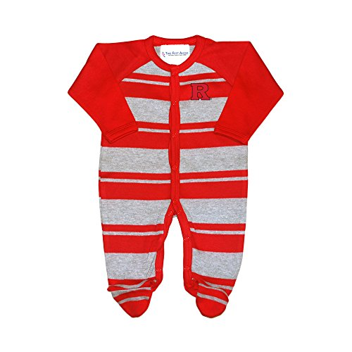 fan products of Two Feet Ahead Rutgers Scarlet Knights NCAA Newborn Baby Long Sleeve Rugby Footed Romper (0-3 Months)