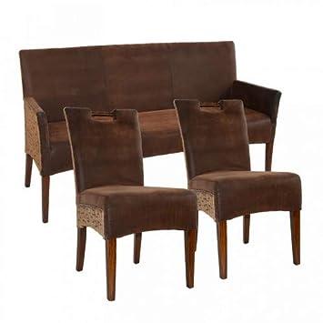 casamia Asiento Banco y 2 sillas de ratán Juego de Bilbao ...