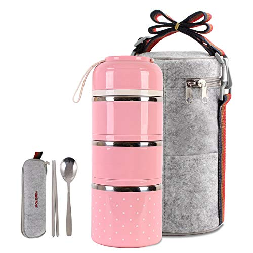 Cute Lunch Box Insulated Lunch Bag Bento Box Food Container Storage Boxes With Cutlery For Adults Office Camping, 3 tier pink ...