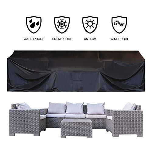"""JOORY Patio Furniture Cover Outdoor sectional Furniture Covers Waterproof Dust Proof Furniture Lounge Porch Winter Sofa Cover Protector D126""""x W63""""x H28"""""""
