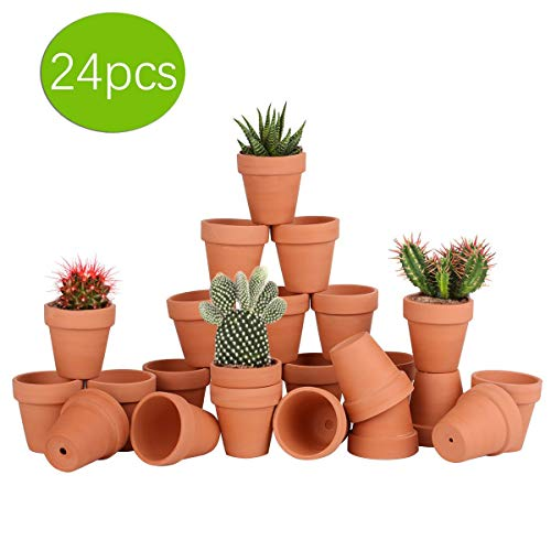 24pcs Small Mini Clay Pots, 2.55'' Terracotta Pot Clay Ceramic Pottery Planter, Cactus Flower Terra Cotta Pots, Succulents Nursery Pots, with Drainage Hole, for Indoor/Outdoor Plants, Crafts,Wedding ()