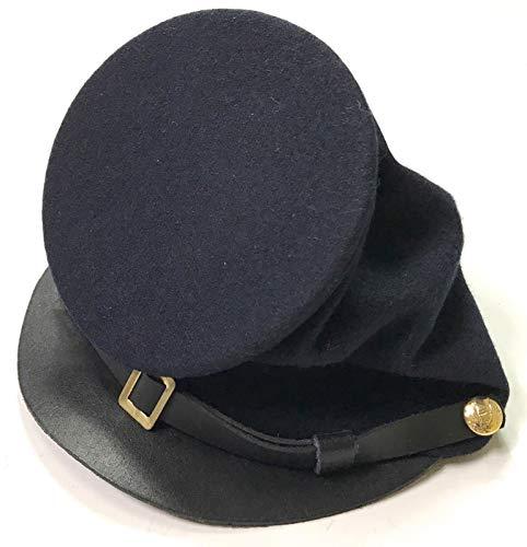 US Civil War Union Enlisted Forage Full Leather Peak Kepi - Hats Cavalry War Civil